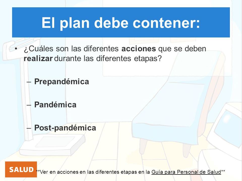 El plan debe contener: ¿Cuáles son las diferentes acciones que se deben realizar durante las diferentes etapas
