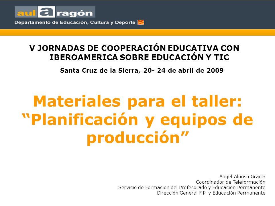Materiales para el taller: Planificación y equipos de producción