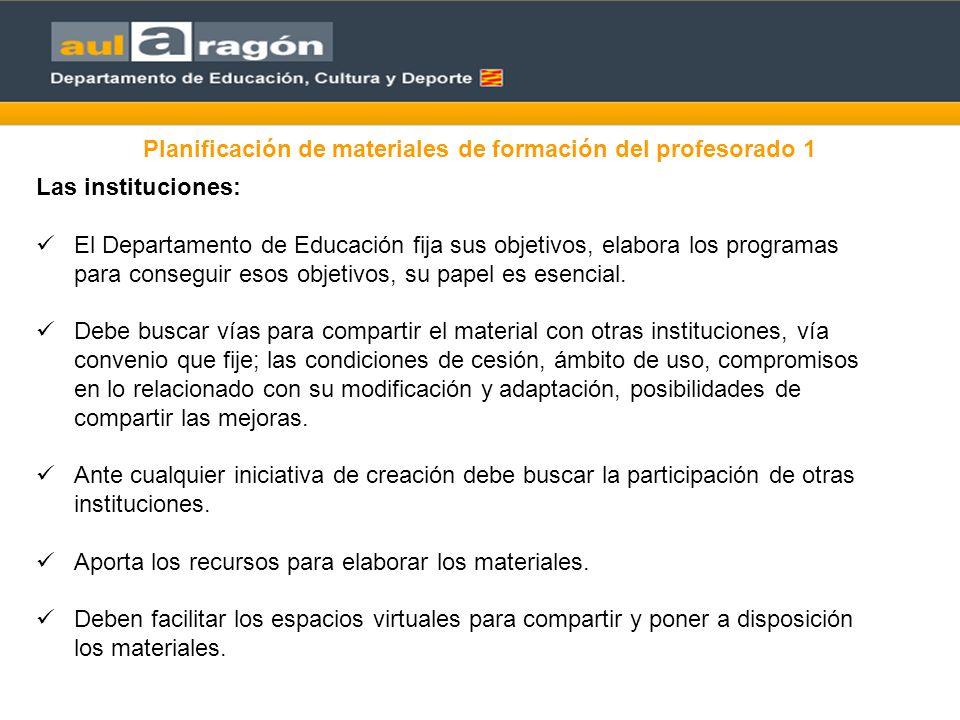Planificación de materiales de formación del profesorado 1