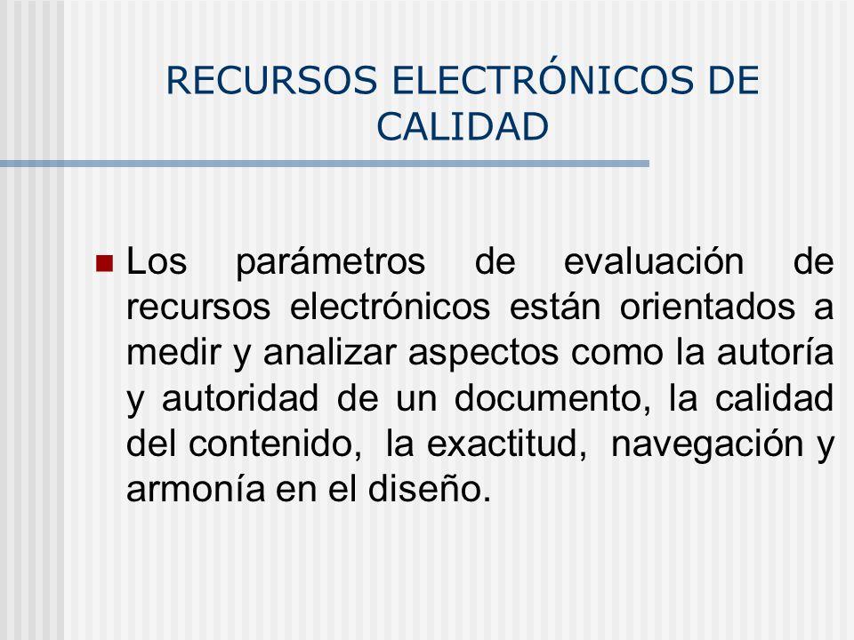RECURSOS ELECTRÓNICOS DE CALIDAD