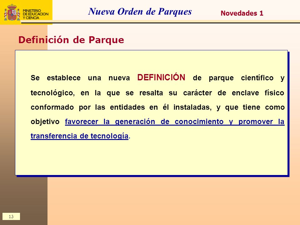 Nueva Orden de Parques Definición de Parque