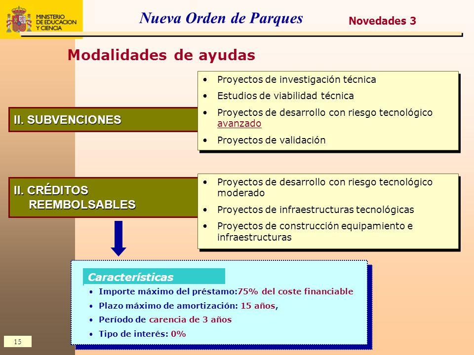 Nueva Orden de Parques Modalidades de ayudas II. SUBVENCIONES