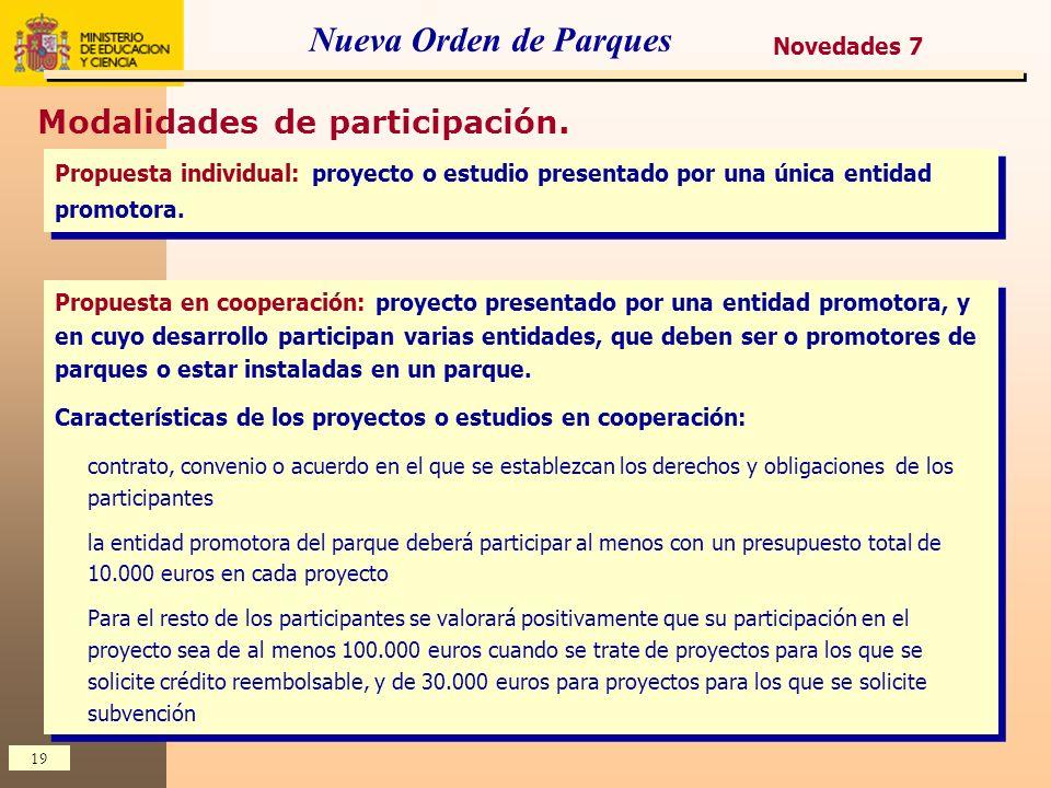 Nueva Orden de Parques Modalidades de participación. Novedades 7