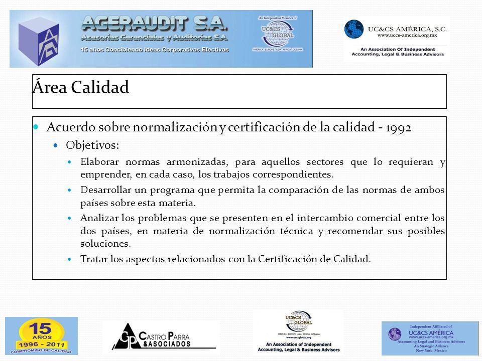 Área Calidad Acuerdo sobre normalización y certificación de la calidad - 1992. Objetivos: