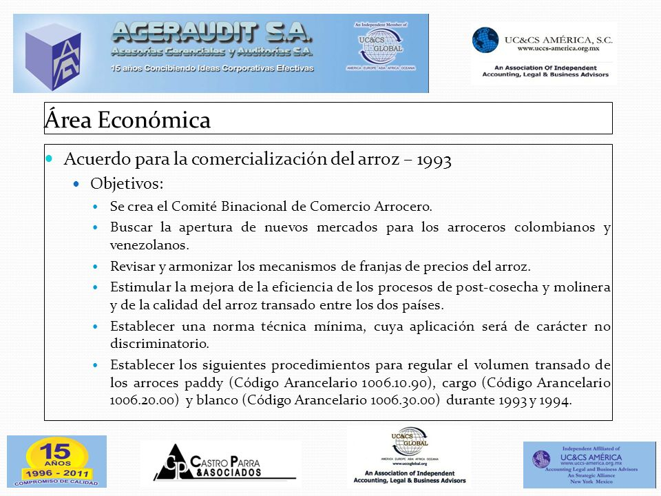 Área Económica Acuerdo para la comercialización del arroz – 1993
