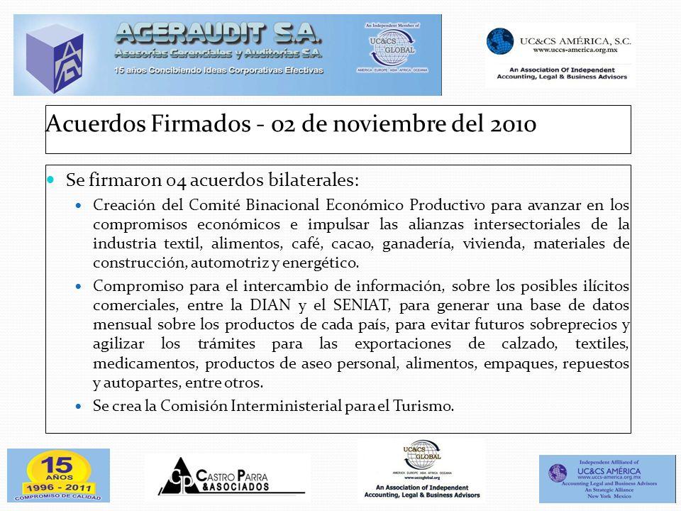 Acuerdos Firmados - 02 de noviembre del 2010