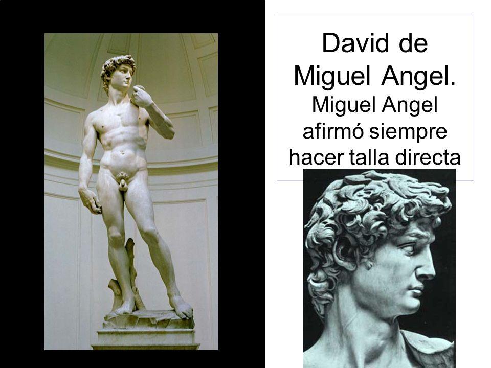 David de Miguel Angel. Miguel Angel afirmó siempre hacer talla directa
