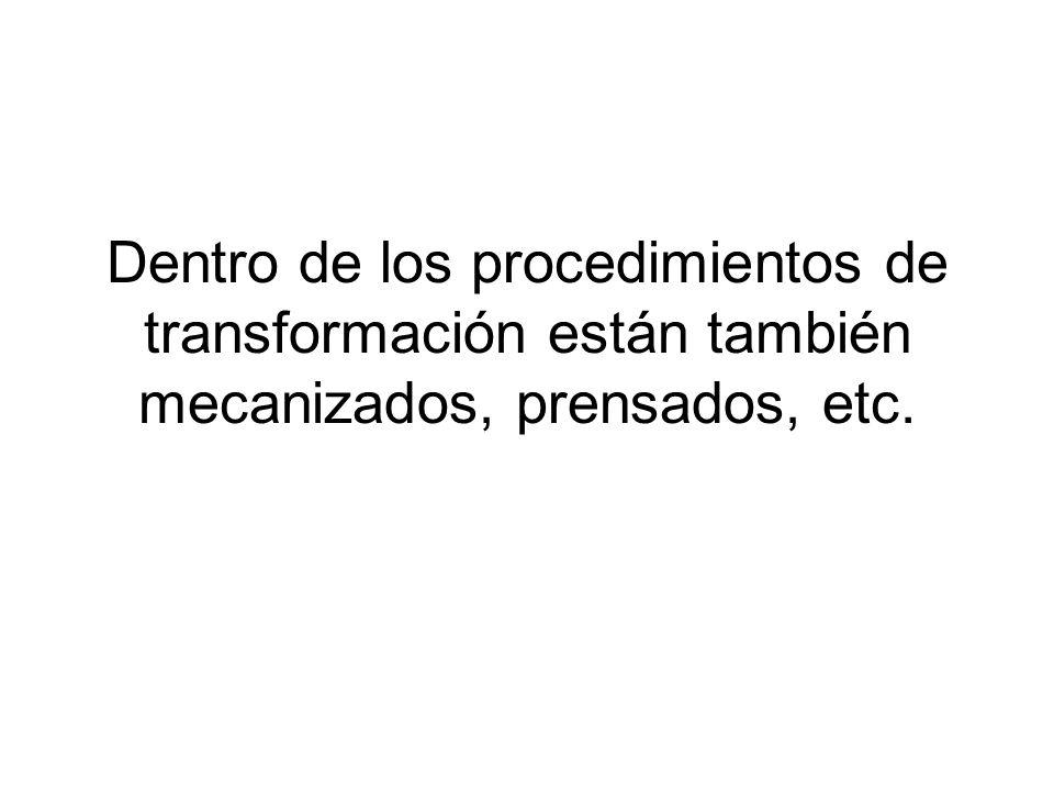 Dentro de los procedimientos de transformación están también mecanizados, prensados, etc.
