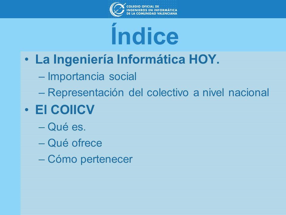 Índice La Ingeniería Informática HOY. El COIICV Importancia social