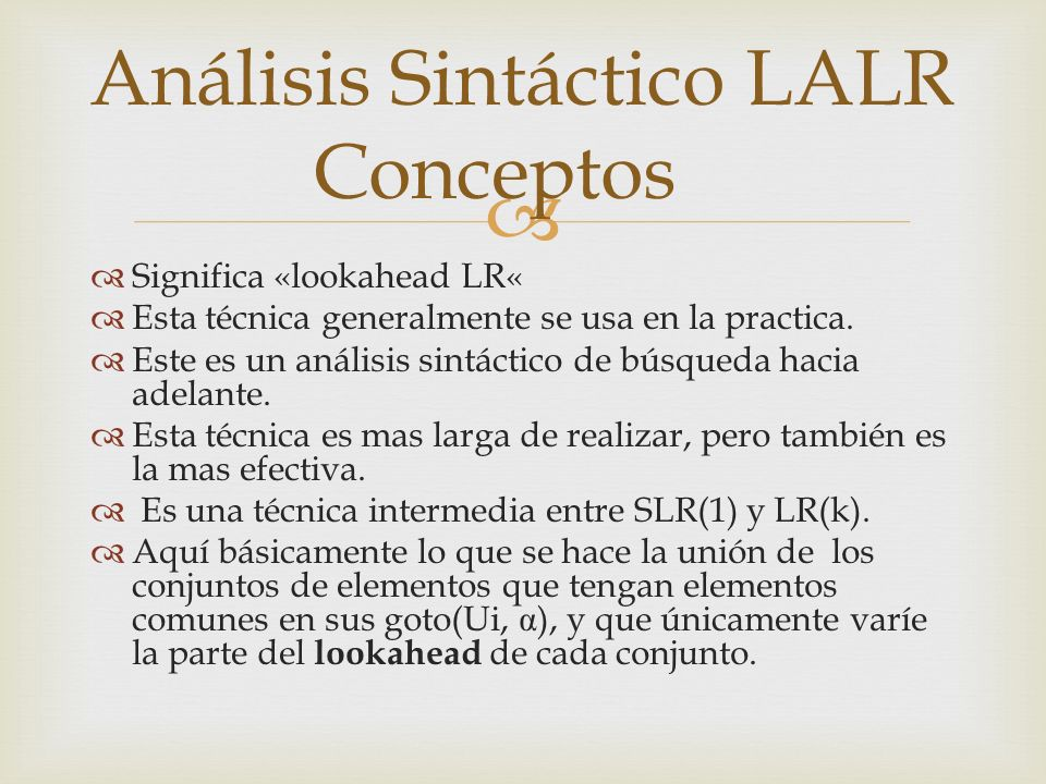 Análisis Sintáctico LALR Conceptos