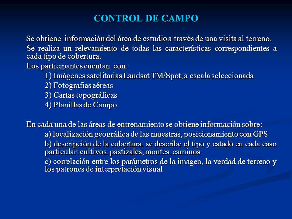 CONTROL DE CAMPO Se obtiene información del área de estudio a través de una visita al terreno.