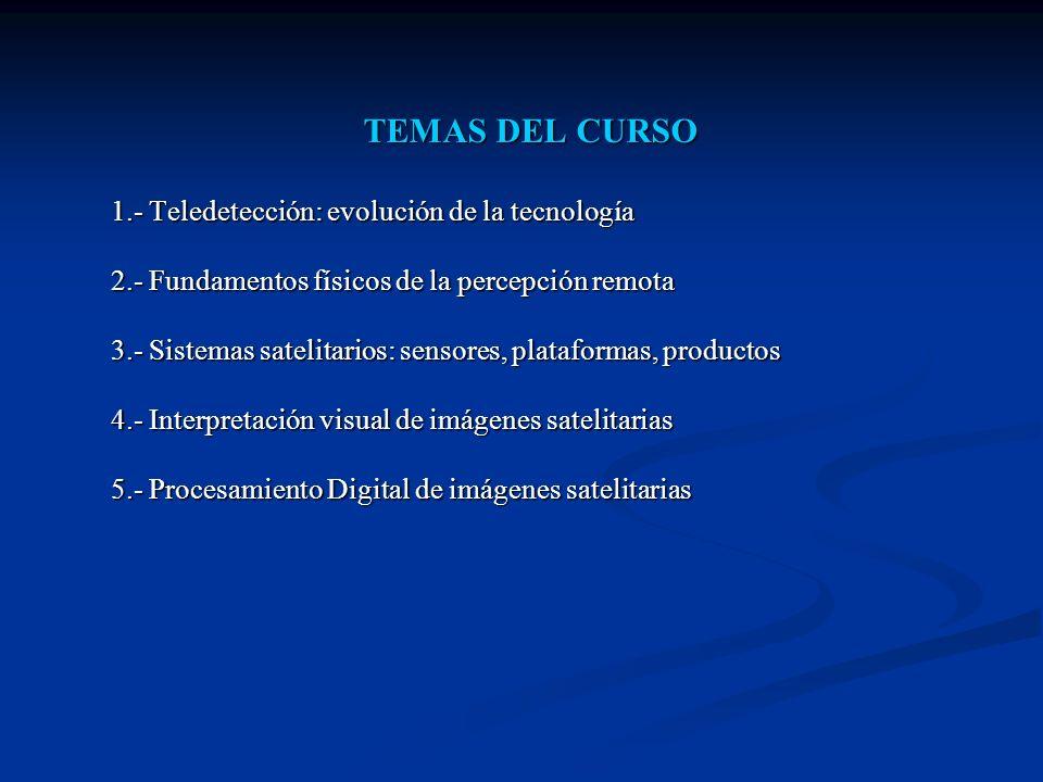 TEMAS DEL CURSO 1.- Teledetección: evolución de la tecnología