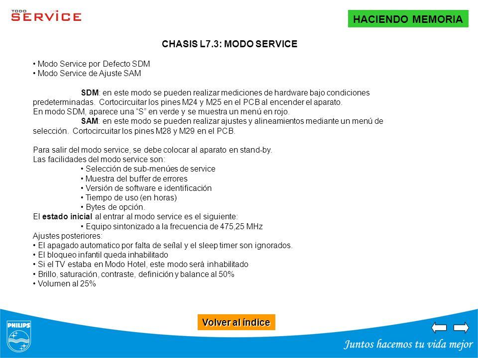 HACIENDO MEMORIA Volver al índice CHASIS L7.3: MODO SERVICE