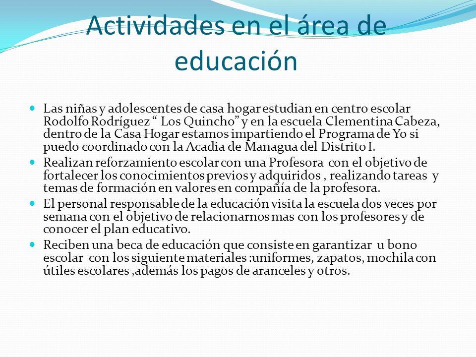 Actividades en el área de educación