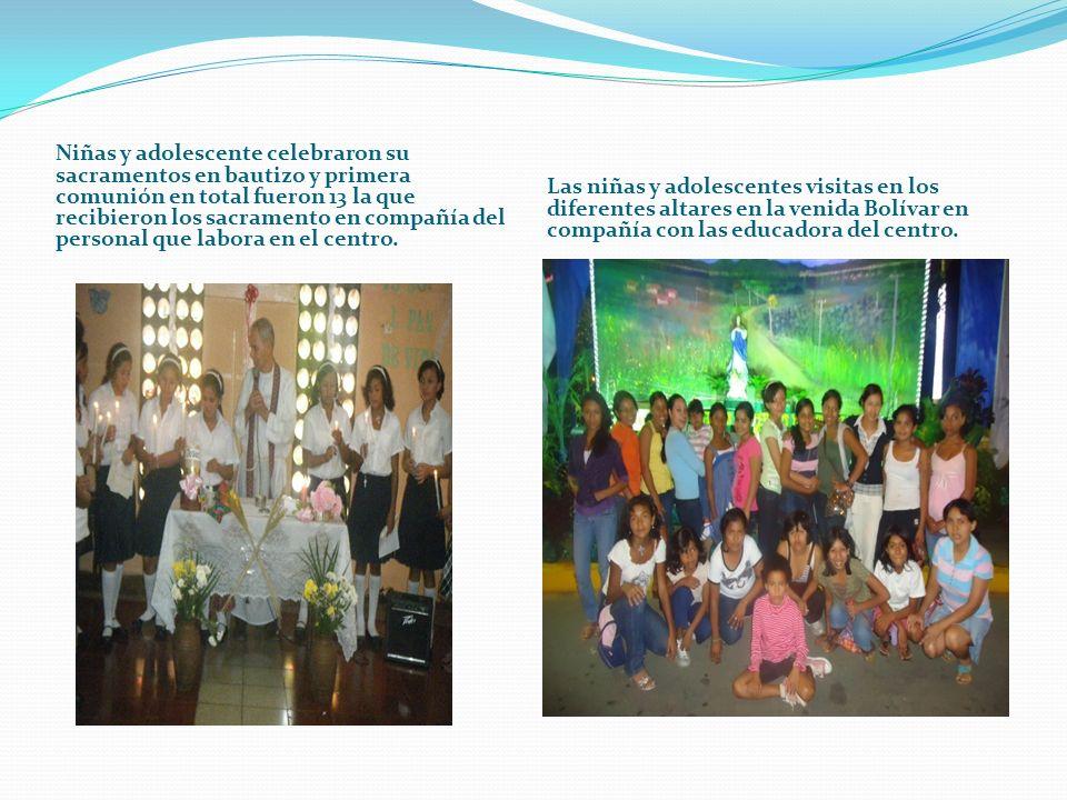Niñas y adolescente celebraron su sacramentos en bautizo y primera comunión en total fueron 13 la que recibieron los sacramento en compañía del personal que labora en el centro.