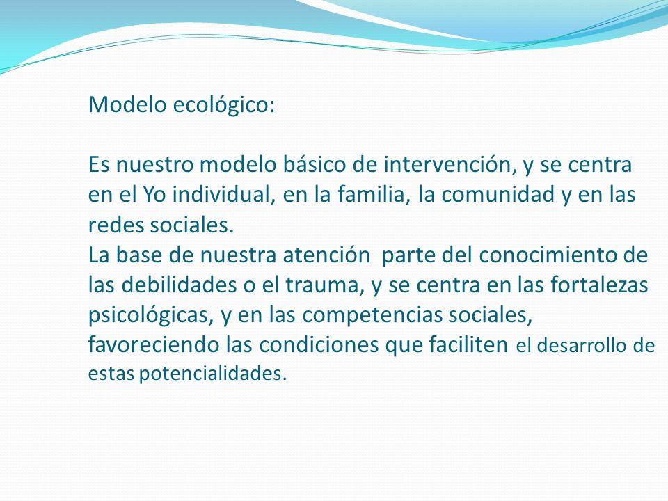 Modelo ecológico: Es nuestro modelo básico de intervención, y se centra en el Yo individual, en la familia, la comunidad y en las redes sociales.