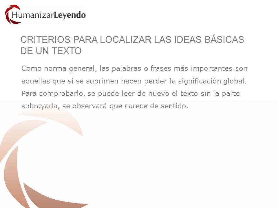 CRITERIOS PARA LOCALIZAR LAS IDEAS BÁSICAS DE UN TEXTO