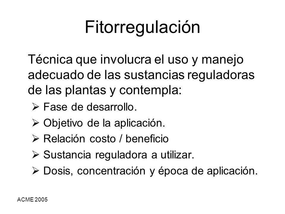 Fitorregulación Técnica que involucra el uso y manejo adecuado de las sustancias reguladoras de las plantas y contempla: