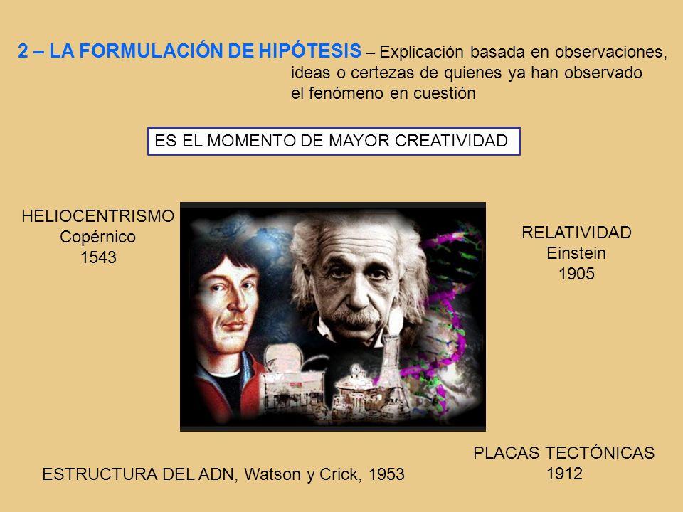 2 – LA FORMULACIÓN DE HIPÓTESIS – Explicación basada en observaciones,
