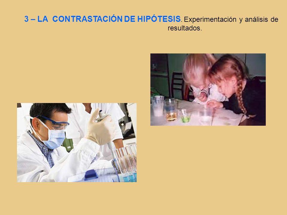 3 – LA CONTRASTACIÓN DE HIPÓTESIS. Experimentación y análisis de