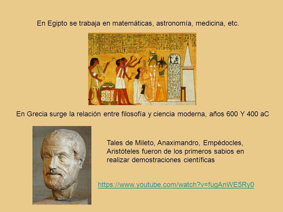 En Egipto se trabaja en matemáticas, astronomía, medicina, etc.