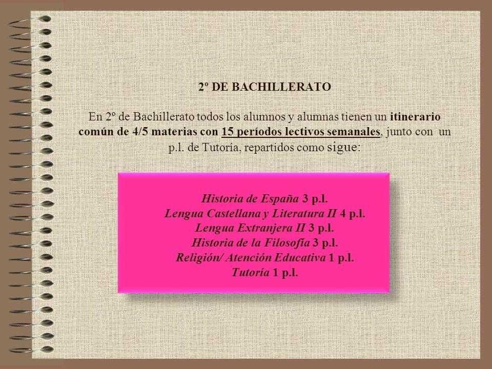 2º DE BACHILLERATO En 2º de Bachillerato todos los alumnos y alumnas tienen un itinerario común de 4/5 materias con 15 períodos lectivos semanales, junto con un p.l.
