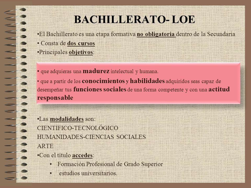 BACHILLERATO- LOE El Bachillerato es una etapa formativa no obligatoria dentro de la Secundaria. Consta de dos cursos.