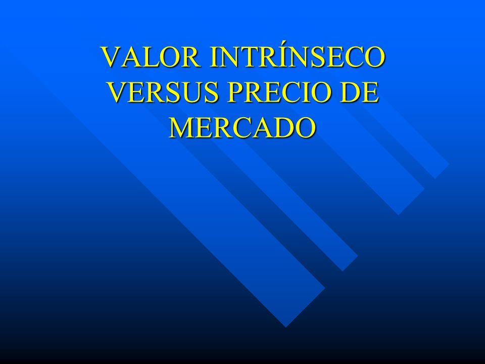 VALOR INTRÍNSECO VERSUS PRECIO DE MERCADO