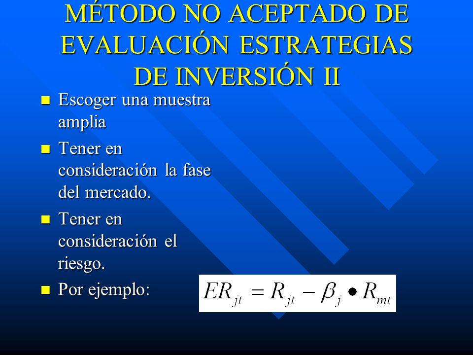 MÉTODO NO ACEPTADO DE EVALUACIÓN ESTRATEGIAS DE INVERSIÓN II