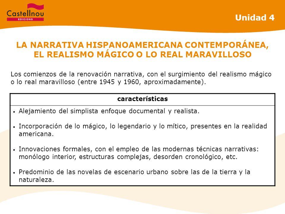 Unidad 4 LA NARRATIVA HISPANOAMERICANA CONTEMPORÁNEA, EL REALISMO MÁGICO O LO REAL MARAVILLOSO.