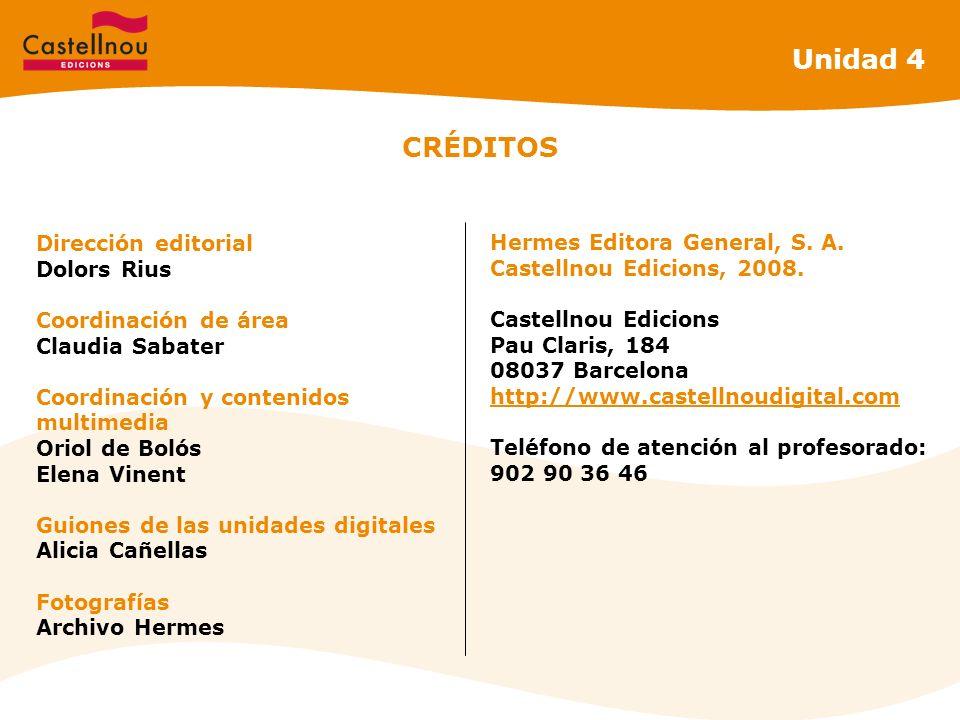Unidad 4 CRÉDITOS Dirección editorial Hermes Editora General, S. A.