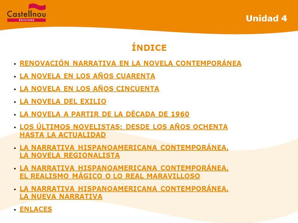 Unidad 4 ÍNDICE RENOVACIÓN NARRATIVA EN LA NOVELA CONTEMPORÁNEA