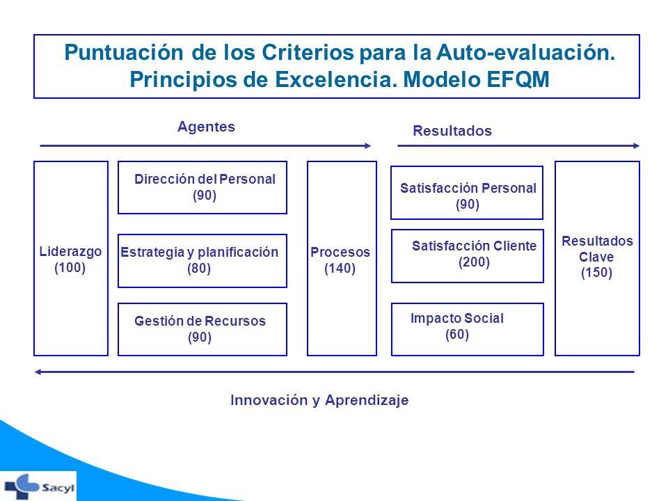 Puntuación de los Criterios para la Auto-evaluación.