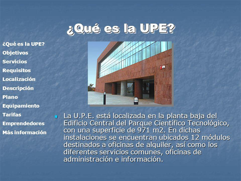 ¿Qué es la UPE ¿Qué es la UPE Objetivos. Servicios. Requisitos. Localización. Descripción. Plano.