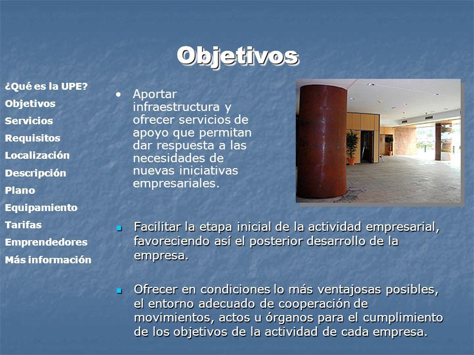 Objetivos ¿Qué es la UPE Objetivos. Servicios. Requisitos. Localización. Descripción. Plano.