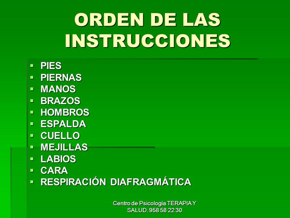 ORDEN DE LAS INSTRUCCIONES