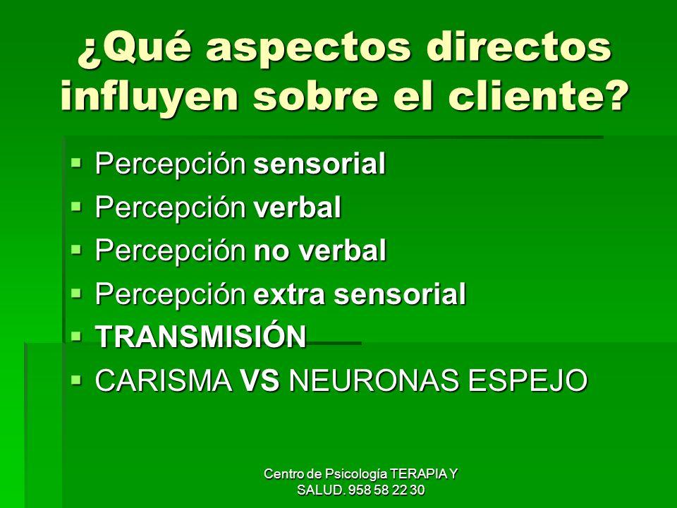 ¿Qué aspectos directos influyen sobre el cliente