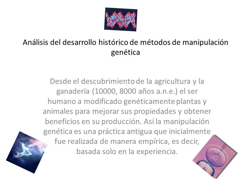 Análisis del desarrollo histórico de métodos de manipulación genética