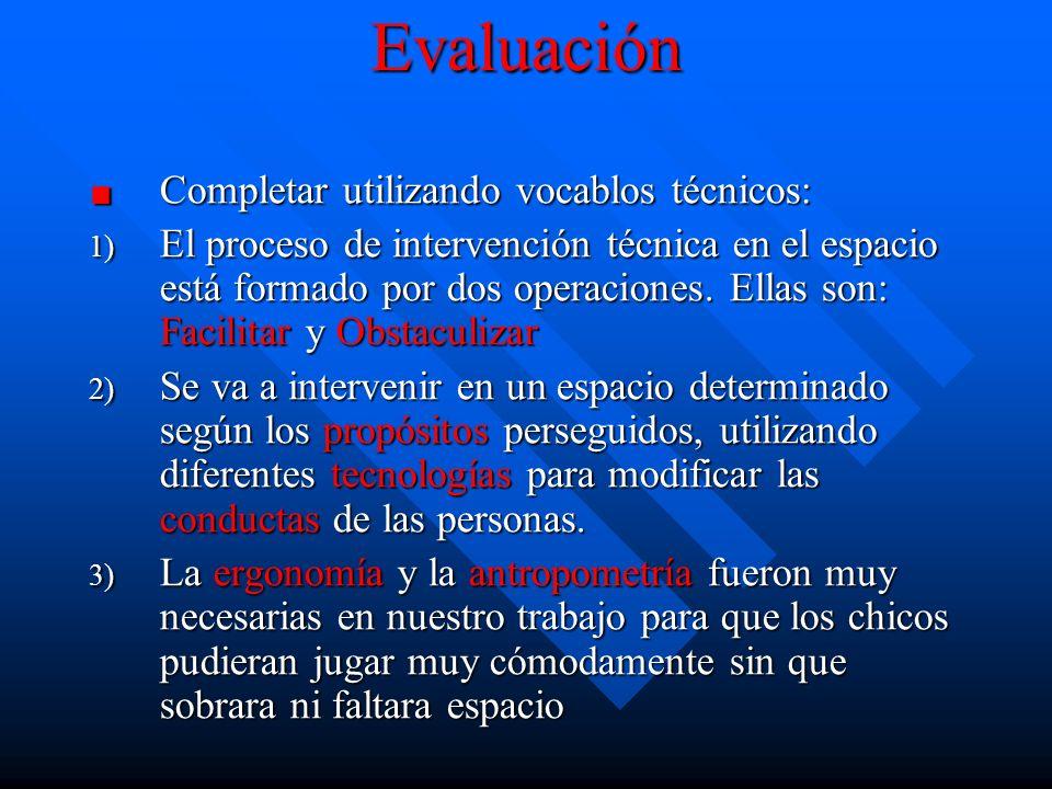 Evaluación Completar utilizando vocablos técnicos: