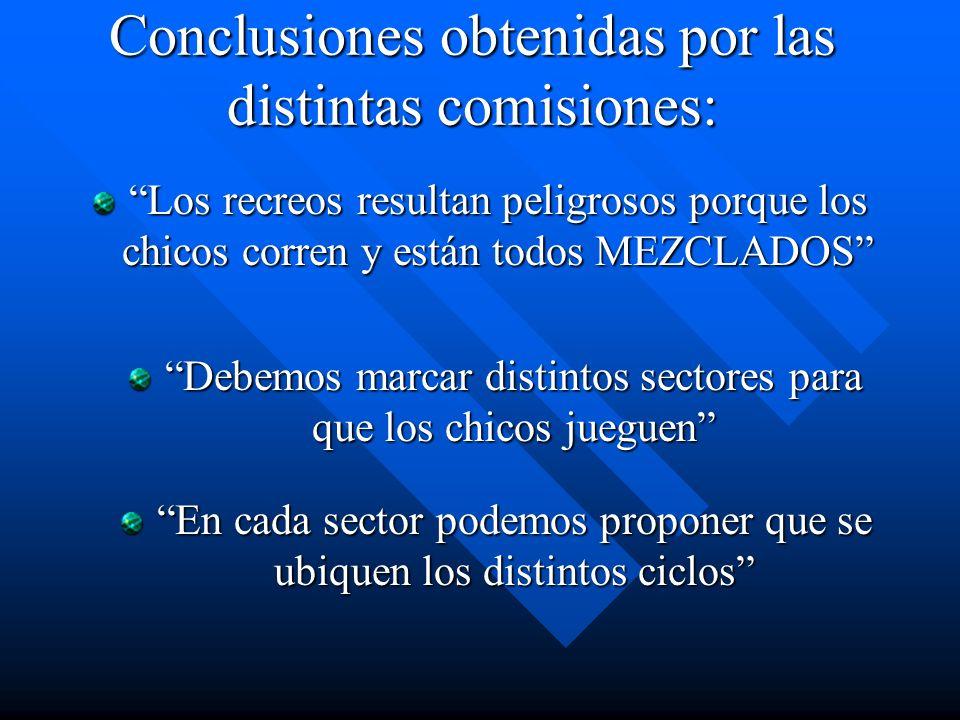 Conclusiones obtenidas por las distintas comisiones: