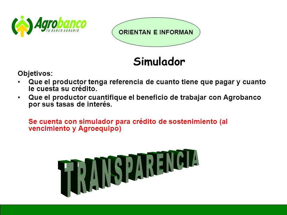 TRANSPARENCIA Simulador Objetivos: