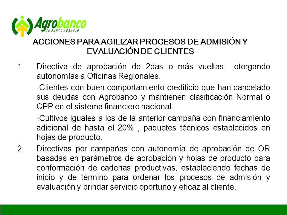 ACCIONES PARA AGILIZAR PROCESOS DE ADMISIÓN Y EVALUACIÓN DE CLIENTES