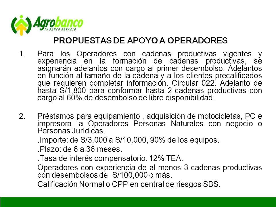 PROPUESTAS DE APOYO A OPERADORES