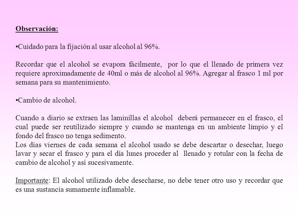 Observación: Cuidado para la fijación al usar alcohol al 96%.