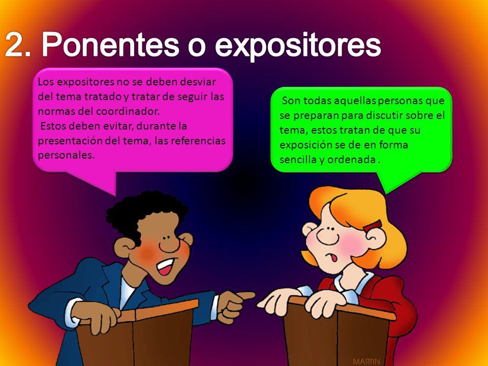 2. Ponentes o expositores