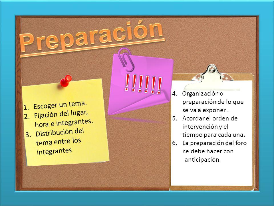 Preparación !!!!!! Escoger un tema.