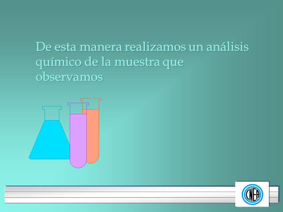 De esta manera realizamos un análisis químico de la muestra que observamos
