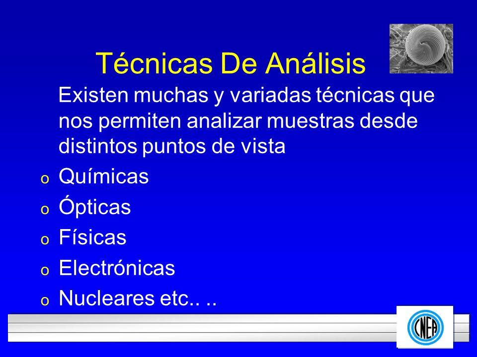 Técnicas De Análisis Existen muchas y variadas técnicas que nos permiten analizar muestras desde distintos puntos de vista.