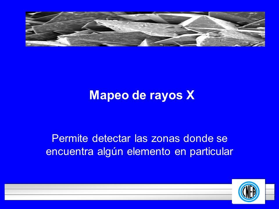 Mapeo de rayos X Permite detectar las zonas donde se encuentra algún elemento en particular