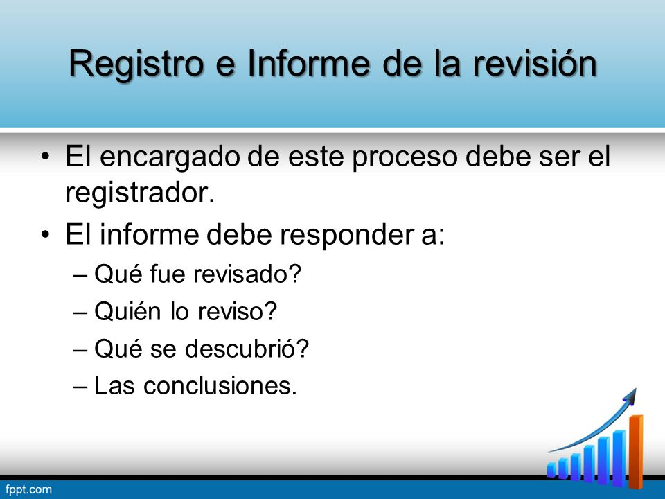 Registro e Informe de la revisión